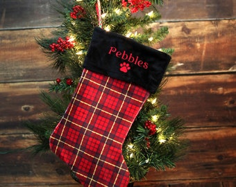 Personalized Dog Christmas Stocking - Custom Dog Christmas Stocking - Personalized Velvet Dog Stocking - Dog Christmas Stocking with name