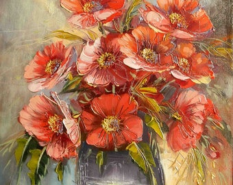 Vase with poppies, original painting by ION VOINEAGU