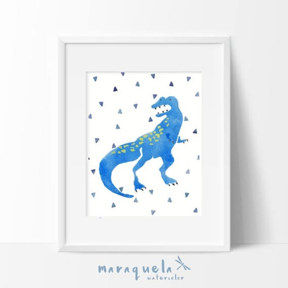 DINOSAUR I, illustration for kids and baby, newborns. Print ,Nursery ,Blue hues, art, animals, dinosaurs, baby boys, kids, decoration