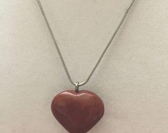 Red Jasper Heart Pendant Necklace