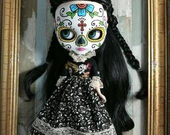 Vestido blythe, ropa blythe, vestido negro blythe, vestido pullip, ropa pullip, vestido calavera mejicana, vestido mejicano blythe