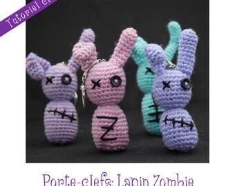 Crochet Pattern: amigurumi Zombie bunny in key ring - Instant Download -