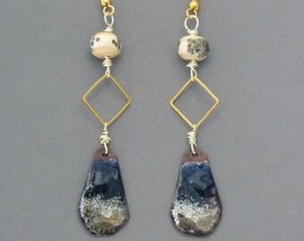 Bohemian Earrings, Dainty Earrings, Enamel Copper Earrings, Golden Earrings, Dangle Earrings, Handmade Jewelry, Womens Gift, Teen Girls Gift