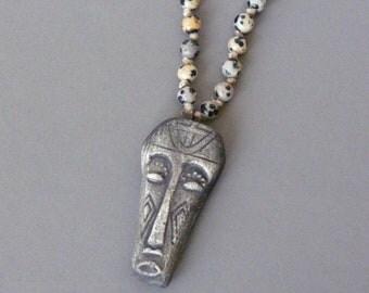 Pendentif Homme Africain, Masque Africain, Pendentif Totem Africain, Collier Ethnique, Amulette Homme, Collier Tribal, Sorcier Vaudoo