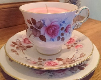 Teacup Soy Candle Queen Anne Trio England Vintage China