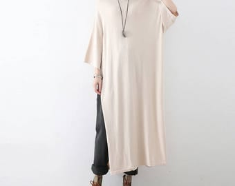 Womens Autumn Loose Fitting Round Collar Long Sleeve Woolen Cotton Knitting Dress Blouses, Womans Casual Dress, Long Dress, Autumn Dress