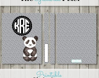 """Printable Binder Cover -Panda Cover - Planner Cover - Personalized Binder Insert - 8.5"""" x 11"""" - Instant Download"""