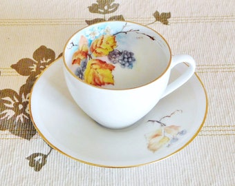 Arzberg hand painted white porcelain cup and saucer duo, vintage 1980s, vine leaf grape design