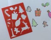 Planner Stencils,Red Christmas Mini BUJO Planner Stencils, Bullet journal stencil, Holiday Insert Stencil, flex plastic planner stencils