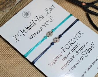 Inspirational Friendship Bracelet Wanderlust Compass Bracelet Personalized BFF Gift Best Friend Gift Long Distance Relationship Customized