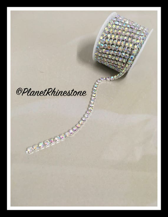 5-yard / Simple Single line SS18 / AB / Rhinestone Trim Chain #S03