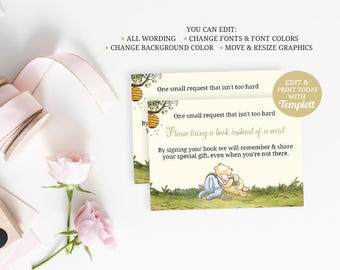 Winnie the Pooh Baby Shower, Bring a Book, Bring a Book Card, Bring a Book Insert, Classic Pooh, INSTANT DOWNLOAD, Winnie Pooh Favors