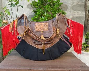 Tribal gypsy hippie bag, Karen hill tribe handwoven textile, Designed bag