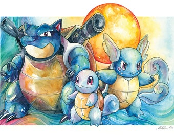 A3 Pokemon Print - The Squirtle Family ~ Squirtle, Wartortle and Blastoise
