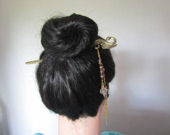 Extra Long Swan Hair Stick with Lampwork Beads, Kanzashi, Swan Hair Stick, Oriental Hair Stick, Bun Accessory, Hair sticks, Hairstick
