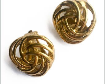 90's Gold Tone Knot Clips