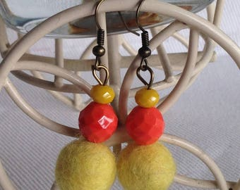 Earrings orange and yellow wool felted orange beads