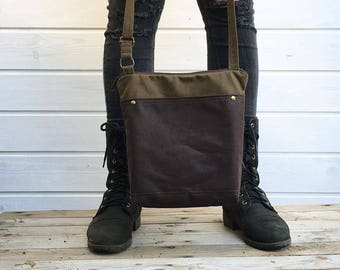 Brown waxed canvas crossbody bag, Unisex vegan day bag, Solid waxed canvas bag