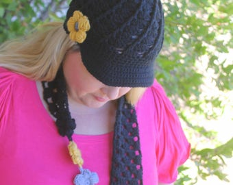 Women's Army hat and infinity scarf, Army wife, Army Mom, Army Girlfriend hat and flower scarf, West Point Army Hat