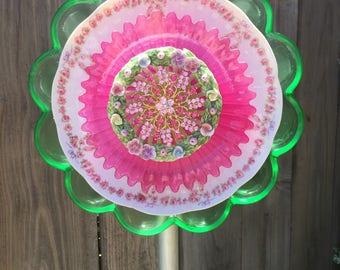 "Plate flower, Vintage Glass, Garden Decor ""Cupcake"""