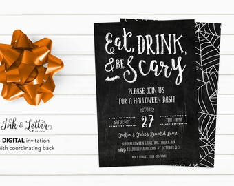 Halloween Party Invitations - Halloween Party Printable Invitation - Eat Drink and Be Scary - Chalkboard Halloween Invites - Printables