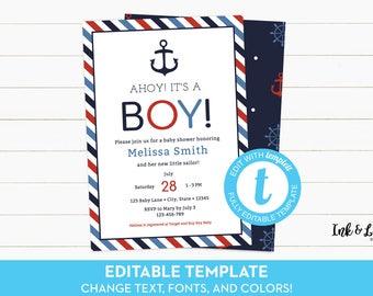 Nautical Baby Shower Invitation - Ahoy Its a Boy Invitation - Templett Baby Shower Invitation - Boy Shower Invite - Digital Invite