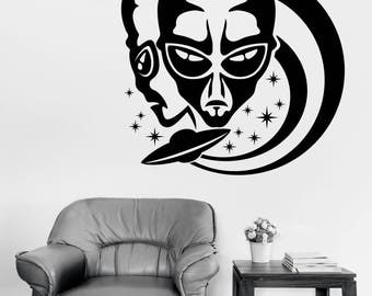 Wall Vinyl Decal Aliens on Background Stars and Flying Saucer Decor for Living Room(#2668dn)