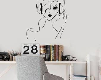 Girl Headphones Vinyl Wall Decal Musical Teen Room Music Art Stickers Mural (#2568di)