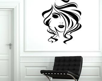 Beauty Salon Vinyl Wall Decal Woman Hair Stylist Hairdresser Stickers Mural (#2692di)