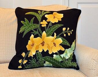 Yellow Blossoms Batik Pillow Cover