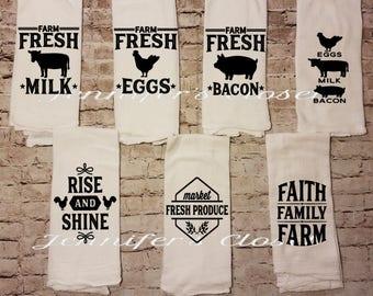 Farmhouse Kitchen Decor, Hanging kitchen Towel,  Flour Sack Towel, Kitchen Decor, Rise and Shine, Rooster Decor, Country Decor, Rustic
