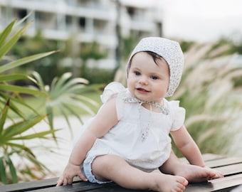Classic Bonnet Baby Bonnet Girl Bonnet Liberthy of London Cathy Bonnet Cotton Bonnet Organic Grey Girl Bonnet Lace