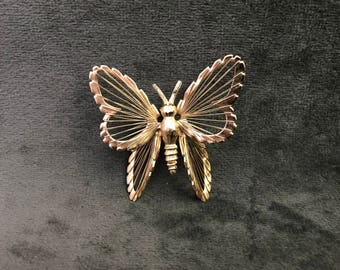 Vintage Monet Goldtone Metal Open-Wire Butterfly Brooch, Monet Brooch, Butterfly Brooch, Butterfly Pin