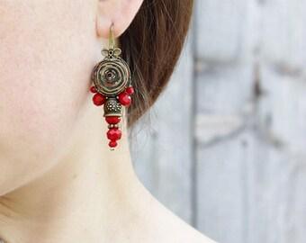 Boho earrings Womens gift for her Beaded earrings Brown earring Ethnic earring Bohemian earring Gypsy earring Tribal earring African earring
