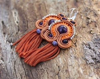 Inspirational, best friend gift, Boho dangle earrings Purple orange tassel earrings Soutache earrings, Burnt orange earrings Fringe earrings