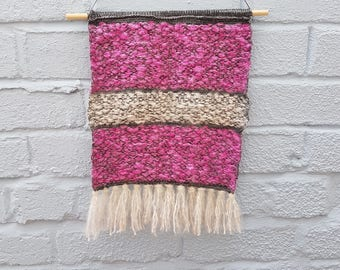 Knitted Wall Hanging 'Coconut Ice' - reclaimed cotton & vintage mohair, sustainable, wall art, home decor, pink, white, grey, new home gift
