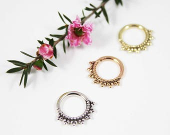 CELESTIAL Septum Ring, Gold Septum Ring, Silver Septum Ring