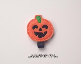 Happy Pumpkins | Hair Clips for Girls | Toddler Barrette | Kids Hair Accessories | Black Grosgrain Ribbon | No Slip Grip | Halloween