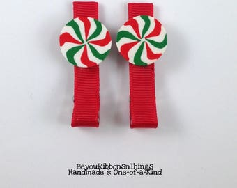 Peppermint | Red/Green Candy | Hair Clips for Girls | Toddler Barrette | Kids Hair Accessories | Red Grosgrain Ribbon | No Slip Grip