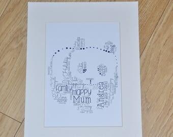 Panda Word Art, Personalised Gift, Personalized Present, Panda Shape, Animal, Keepsake, Friend Gift, Friendship Present, Unique, Birthday