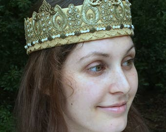 Gold fabric queen's crown, Gold woman's costume crown