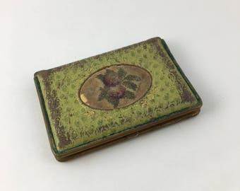 Antique Mondaine blush compact, leather blush compact, Mondaine, vintage makeup, Mondaine blush, 20s blush compact, art deco compact case