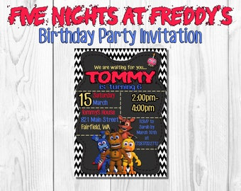 Five Nights at Freddy's Birthday Party Invitation- Digital Download- Printable