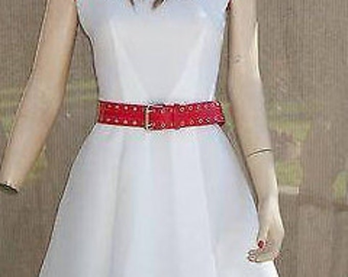 Vintage 70s Hippie Chic Mod Beeline Fashions Womens Red White Cotton Sleeveless Mini Tennis Dress Size 6