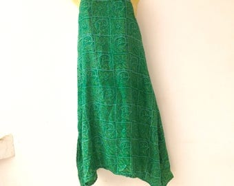Silk Sari Dress / Upcycled Silk Saris from India // Green Dress // X-Small Dresses // Resort Wear // summer dress // tank dress /Party dress