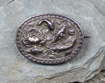 Antique Victorian Unusual Rare Silver 'Catch Of The Day ' Brooch Pin