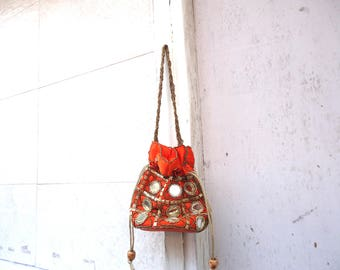 Orange mirror work potli bag, Indian wedding favors, wedding party bags, ethnic handwork purse with beads and mirrors, small shoulder bag