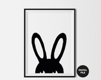 Bunny Illustration Children's Art Print, Digital Download,Printable Poster Black & White Rabbit Nursery Wall Art, woodland Modern Kids Print
