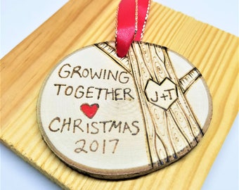 Couples ornament, his and hers ornament, anniversary ornament, wood ornament, couples gift, personalized gift, wedding ornament