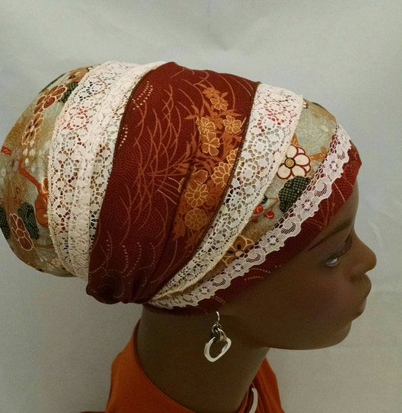Fashionable cotton and lace chic sinar tichel, tichels, chemo scarves, head scarves